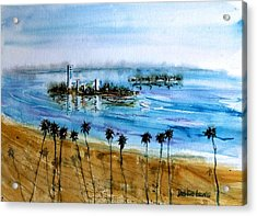 Long Beach Oil Islands Before Sunset Acrylic Print by Debbie Lewis