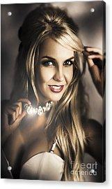 Long Blond Hair Fashion Girl In Night Makeup  Acrylic Print