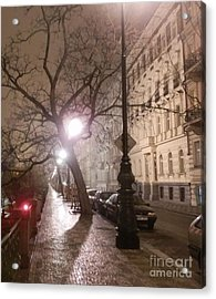 Long Cobblestone Street Of Prague Acrylic Print by Margaret Brooks