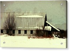 Acrylic Print featuring the photograph Long Cold Winter - Winter Barn by Janine Riley