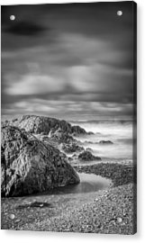 Long Exposure Of A Shingle Beach And Rocks Acrylic Print