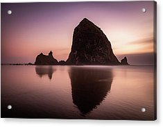 Acrylic Print featuring the photograph Long Exposure Of Haystack Rock At Sunset by Pierre Leclerc Photography
