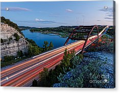 Long Exposure View Of Pennybacker Bridge Over Lake Austin At Twilight - Austin Texas Hill Country Acrylic Print