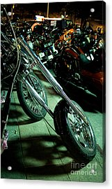 Long Front Fork And Wheel Of Chopper Bike At Night Acrylic Print