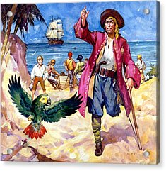 Long John Silver And His Parrot Acrylic Print by James McConnell