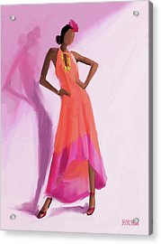 Long Orange And Pink Dress Fashion Illustration Art Print Acrylic Print by Beverly Brown