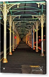 Acrylic Print featuring the photograph Long Platform Albury Station By Kaye Menner by Kaye Menner