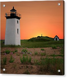Long Point Light Sunset Acrylic Print by Bill Wakeley