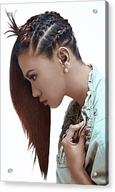 Long Straight Cut With Single Side Braid Hairstyle For Women Acrylic Print