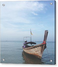 Acrylic Print featuring the photograph Long Tail Boat Stillness by Ivy Ho