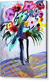 Long Vase Of Red Flowers Acrylic Print by Amara Dacer