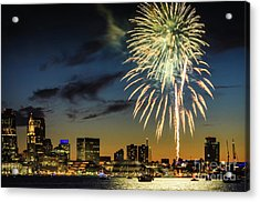 Long Warf Fireworks 1 Acrylic Print by Mike Ste Marie