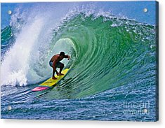 Longboarder In The Tube Acrylic Print by Paul Topp