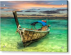 Longboat Sunset Acrylic Print by Adrian Evans