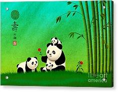 Acrylic Print featuring the digital art Longevity Panda Family Asian Art by John Wills