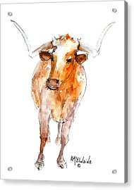 Longhorn 1 Watercolor Painting By Kmcelwaine Acrylic Print