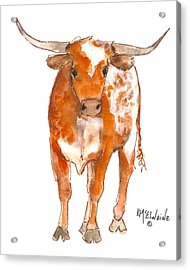 Texas Red Longhorn Watercolor Painting By Kmcelwaine Acrylic Print