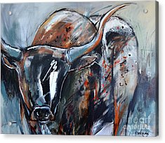 Acrylic Print featuring the painting Longhorn by Cher Devereaux