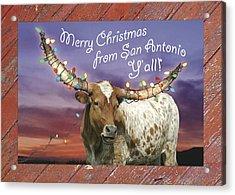 Longhorn Christmas Card From San Antonio Acrylic Print by Robert Anschutz