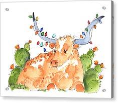 Longhorn Christmas Acrylic Print