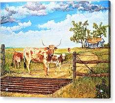 Longhorn Stand Off Your Place Or Mine Acrylic Print