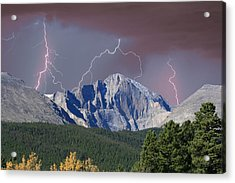 Longs Peak Lightning Storm Fine Art Photography Print Acrylic Print