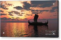 Longship At Sunset Acrylic Print by Fairy Fantasies
