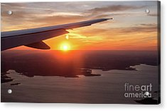 Looking At Sunset From Airplane Window With Lake In The Backgrou Acrylic Print