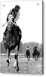 Looking Back, 1973 Secretariat, Stretch Run, Belmont Stakes Acrylic Print