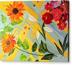 Acrylic Print featuring the painting Looking Down On The Flowers On The Tile Floor by Sandy McIntire