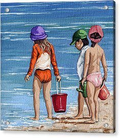 Looking For Seashells Children On The Beach Figurative Original Painting Acrylic Print by Linda Apple