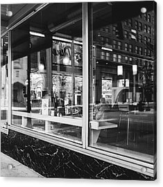 Looking Into A Diner. Black And White Street Photography. Acrylic Print by Dylan Murphy