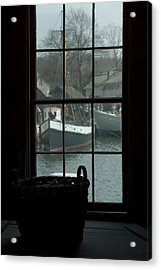 Looking Out Through A Window At Wooden Acrylic Print by Todd Gipstein