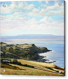 Looking Toward Lundy Island And Lee Bay From Ilfracombe Coast Path Acrylic Print by Mark Woollacott