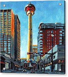 Looking Up - Calgary Tower Acrylic Print by Christine Karron