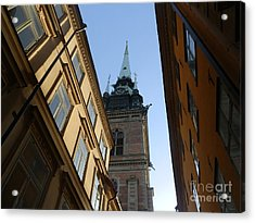 Looking Up From A Stockholm Street Acrylic Print by Margaret Brooks