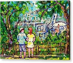 Lookout Mount Royal Beaver Lake Montreal Skyline Big O Canadian Landscape Paintings C Spandau Artist Acrylic Print