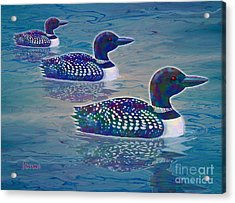 Acrylic Print featuring the painting Loon Lagoon by Teresa Ascone