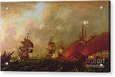 Lord Howe And The Comte Destaing Off Rhode Island Acrylic Print by Robert Wilkins