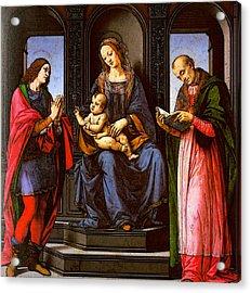 Lorenzo Di Credi The Virgin And Child With St Julian And St Nicholas Of Myra Acrylic Print