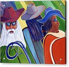 Los Abuelos Bailando Jazz Acrylic Print by George Chacon