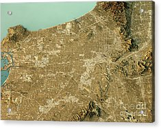Los Angeles 3d Landscape View East-west Natural Color Acrylic Print by Frank Ramspott