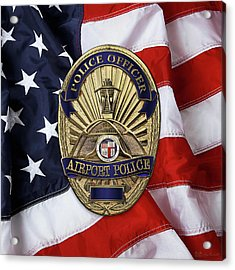 Los Angeles Airport Police Division - L A X P D  Police Officer Badge Over American Flag Acrylic Print