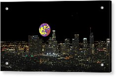 Los Angeles And The Super Alien Moon Acrylic Print by Kenneth James