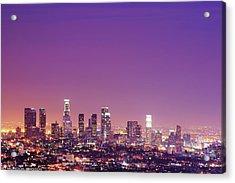 Los Angeles At Dusk Acrylic Print by Dj Murdok Photos
