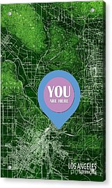 Los Angeles California 1894 Green Old Map You Are Here Acrylic Print