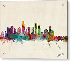 Los Angeles California Skyline Signed Acrylic Print by Michael Tompsett