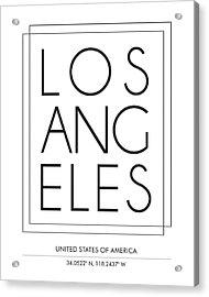 Los Angeles City Print With Coordinates Acrylic Print