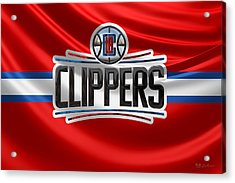 Los Angeles Clippers - 3 D Badge Over Flag Acrylic Print