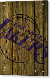 Los Angeles Lakers Wood Fence Acrylic Print by Joe Hamilton